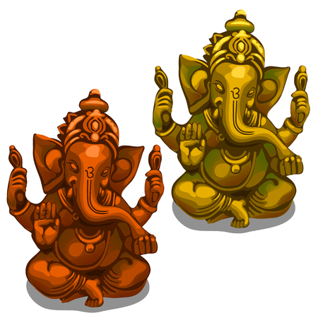Golden and bronze decorative figurines of the Indian deity of Ganesha. Vector illustration isolated on white background
