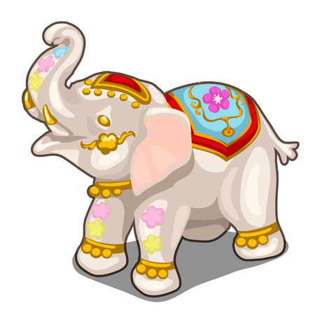 Figurine of Indian white elephant. Vector isolated