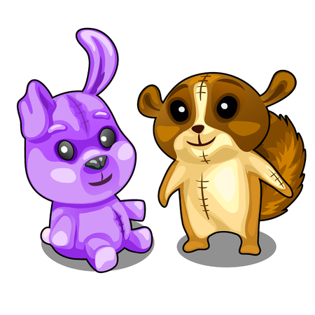 brown hare: Baby soft toys purple hare and brown beaver Illustration