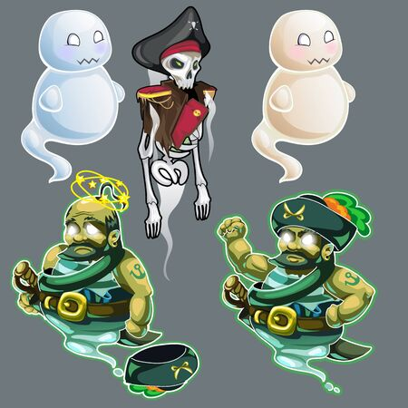 the spectre: Set of three figures of pirates and two ghosts. Vector Illustration in cartoon style for your design needs