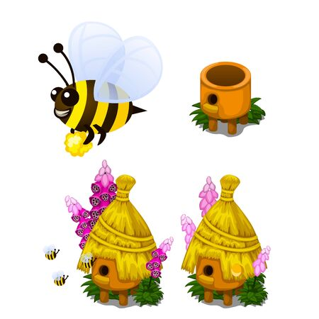 beeswax: Bee carrying honey and bee hive in cartoon style