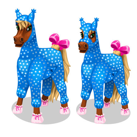 Funny horse in the blue jumpsuit. Vetor isolated Illustration
