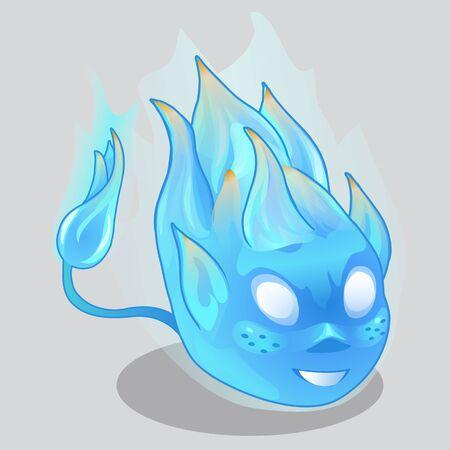 fiery: Blue fiery demon in cartoon style. Vector