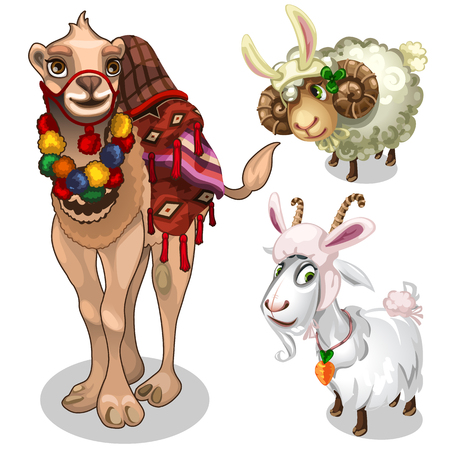 Camel, sheep and goat in childrens style costume Illustration