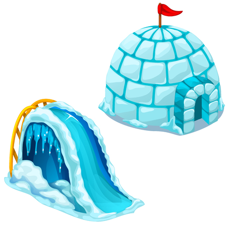 Ice house Igloo and childrens ice slide. Vector