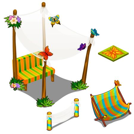 veranda: Furniture and decorations for veranda. Objects of location design concept. Vector in cartoon style on white background. Illustration isolated Stock Photo