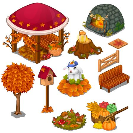 Set of useful and decorative elements for the garden. Arbor, stove, stump, bench, birdhouse, tree, vegetables and other. Objects of location design concept. Vector in cartoon style on white background