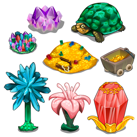 Stones, mountains of gold, turtles and flowers Illustration