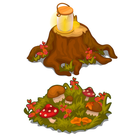 Vector set of stumps and lawns with mushrooms