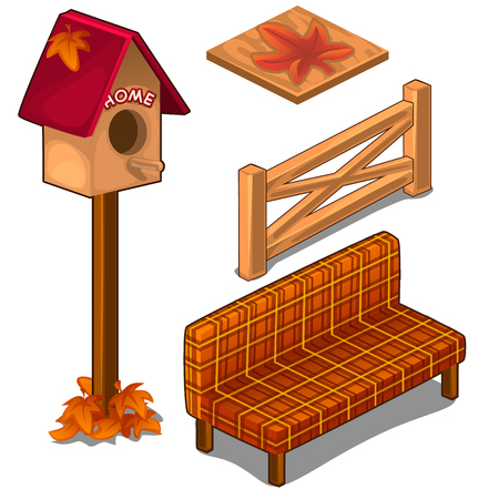 veranda: Set of fences, coverings, birdhouse and sofa Illustration