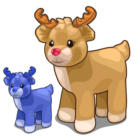 Two deer toys of different colors, blue and brown