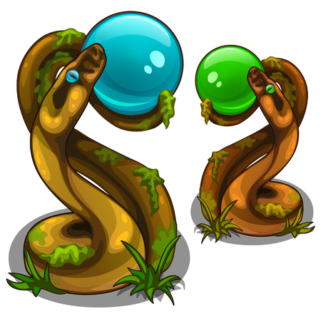 Figurines of snakes holding balls, blue and green Illustration