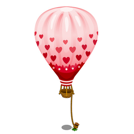 Pink balloon with hearts tied to the ground. Holiday concept. Vector in cartoon style on white background. Illustration isolated Illustration