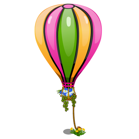 Striped hot air balloon with basket of flowers. Holiday concept. Vector in cartoon style on white background. Illustration isolated Illustration