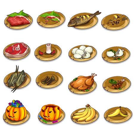 Vector conjunto de comida deliciosa y sobras