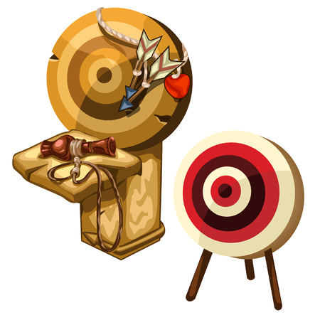 dartboard: Ancient wooden Darts and clay jug. Vector isolated