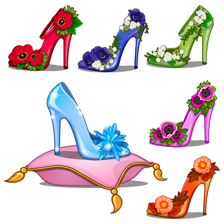 Crystal shoes in different colors with flowers Stock Photo