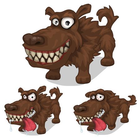 Cartoon souriant et chien en colère. Vecteur animal sur fond blanc. Animaux isolés