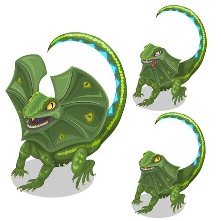 Frill-neck lizard smiling and tired. Vector animal in cartoon style on white background. Image isolated