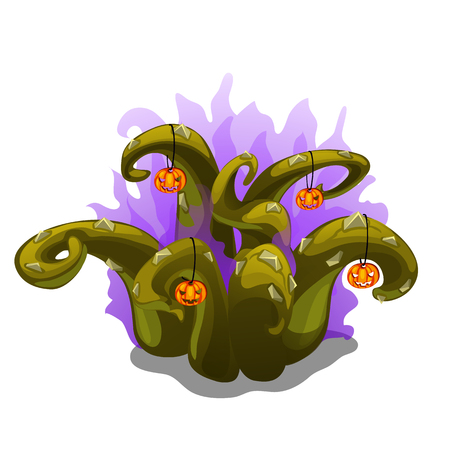 Mystical plant with thorns and pumpkins for halloween design