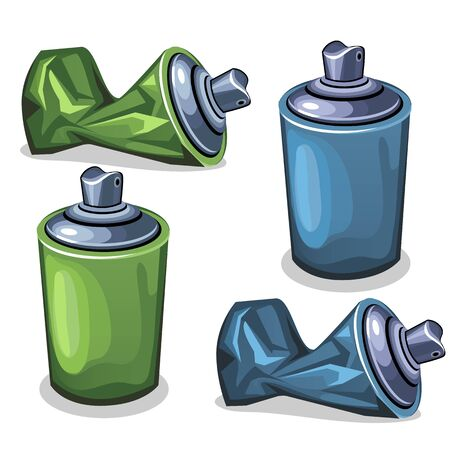compressed air: Tube spray full and empty crumpled, blue and green color in vector image in cartoon style. Illustration isolated on white background for your design needs
