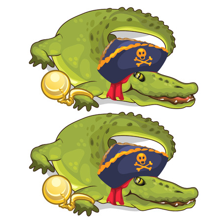 Crocodile in gold chains and in pirate hat. Vector Illustration