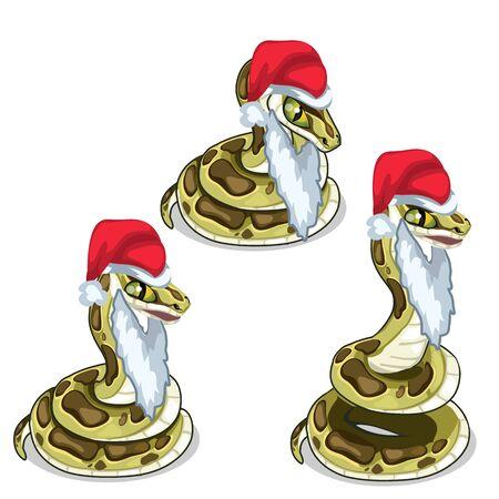 crawling creature: Snake in cap and beard of Santa Claus. Vector