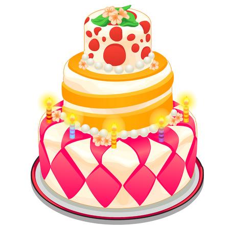 Feestelijke taart met kaarsen, kralen en bloemen