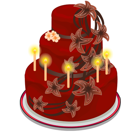 burning: Red cake with burning candles and flowers