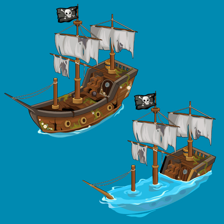 Old classic pirate ship on water and flooded.