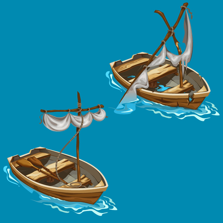 Old boat with sailboat on water in cartoon style