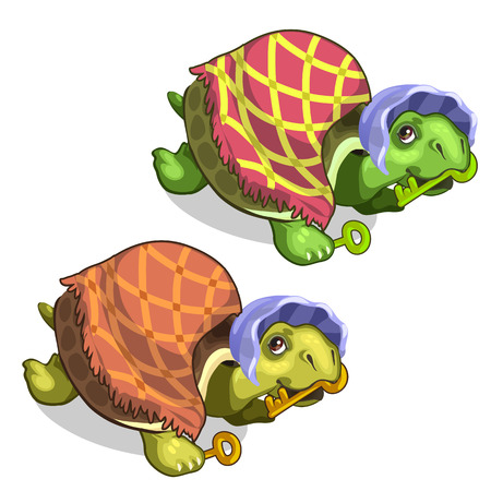 Old tortoise in grandmothers suit holds golden key Illustration