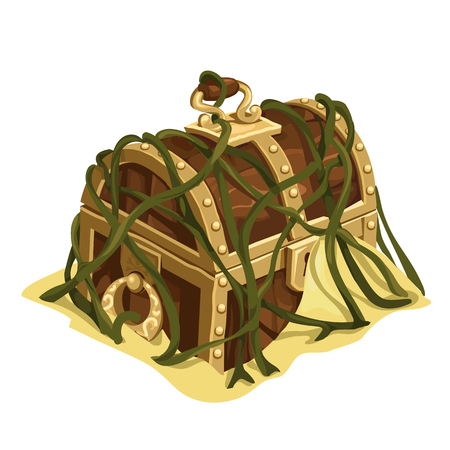 Old treasure chest in sand and seaweed. Vector Illustration
