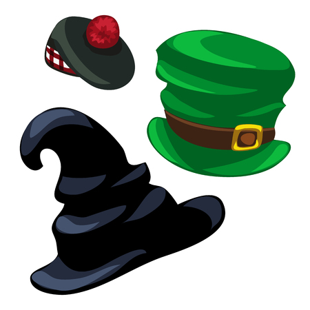 Wizard hat, leprechaun and scottish cap. Vector on a white background. Illustration isolated. Holiday, costume party concept