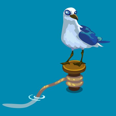 ornithologist: Seagull standing on buoy on water background Illustration
