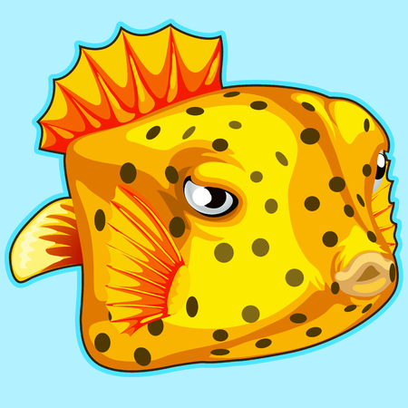 Yellow tropical fish on blue background. Vector