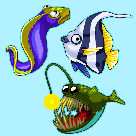 Set of anglerfish, eel, striped tropical fish Illustration