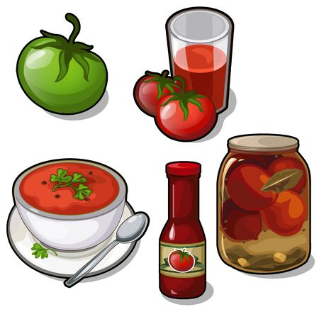 Dishes of tomatoes - juice, soup, canned, ketchup Stock Photo