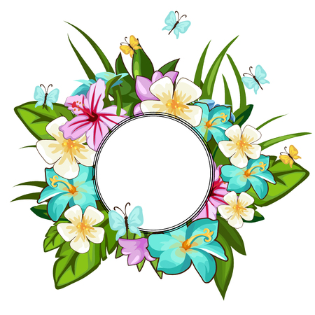 Beautiful wreath of different flowers, leaves and butterflies with circular frame for your text. Holiday concept. Vector illustration in cartoon style isolated on a white background