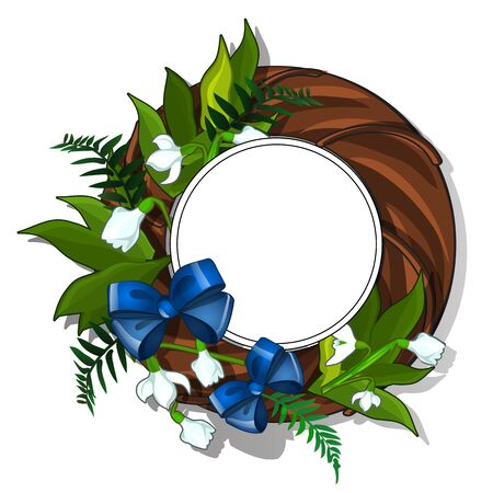 Wooden wreath of snowdrops and green leaves decorated with blue bow tie. Card with frame for text for different design projects. Vector illustration in cartoon style isolated on white background Stock Photo