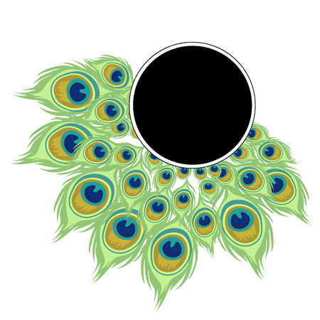 Round wreath of peacock feathers with black frame for text. Vector illustration in cartoon style isolated on a white background