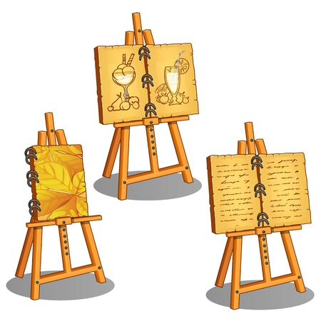 Three canvases on stand with leaves, image of ice cream and cocktail and handwriting text. Vector illustration in cartoon style isolated on white background