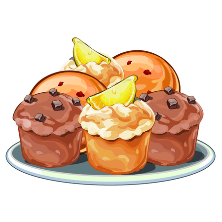 homemade bread: Set of mouth-watering muffins with berries, chocolate and lemon slices. Vector illustration in cartoon style isolated on white background. Dessert food image Illustration