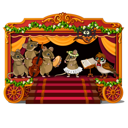 Mice, bird and spider with musical instruments on festive mobile scene show performance. Animal and holiday concept. Vector illustration in cartoon style isolated on white background