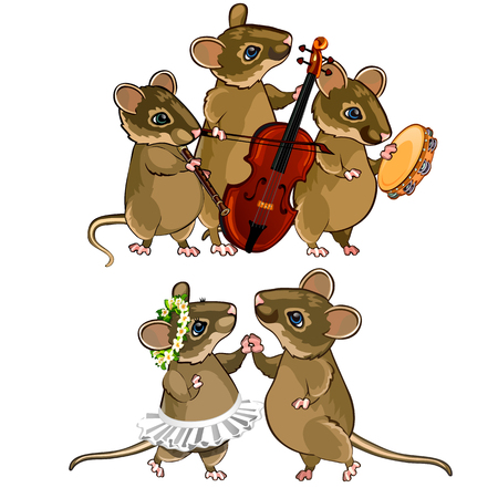 Mouse characters. Musical orchestra and a dancing couple. Holiday concept. Vector illustration in cartoon style isolated on white background Illustration