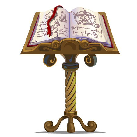 Ancient book of spells with symbols on stand