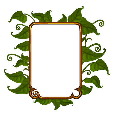 Golden frame with bright green leaves for your text. Vector illustration in cartoon style isolated on a white background