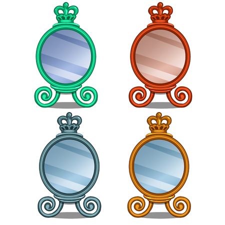 mirror frame: Set of cosmetic mirror with crown decoration. Vector illustration in cartoon style on white background. Image isolated for your design needs