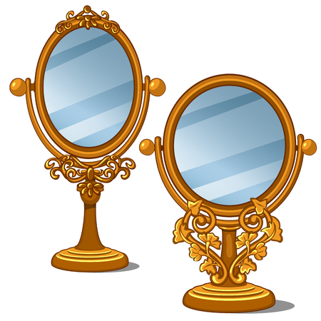 mirror frame: Two mirrors with golden frame