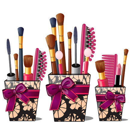 boudoir: Makeup brushes, mascara, comb in box with pink bow. Womens cosmetic stuff, beauty salon concept. Female beauty product in cartoon style. Vector illustration isolated on white background